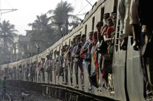 Crowded train in India