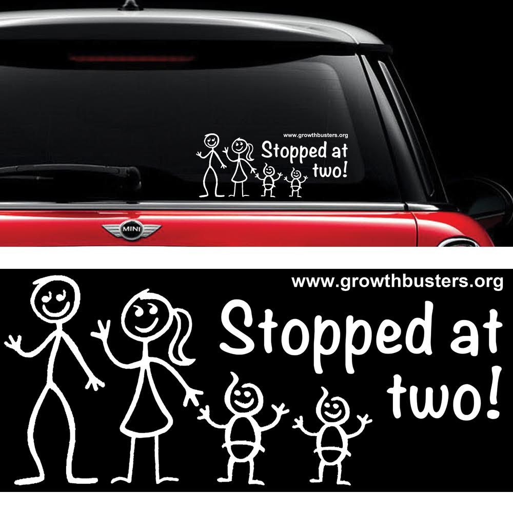 Stopped at two small family window sticker